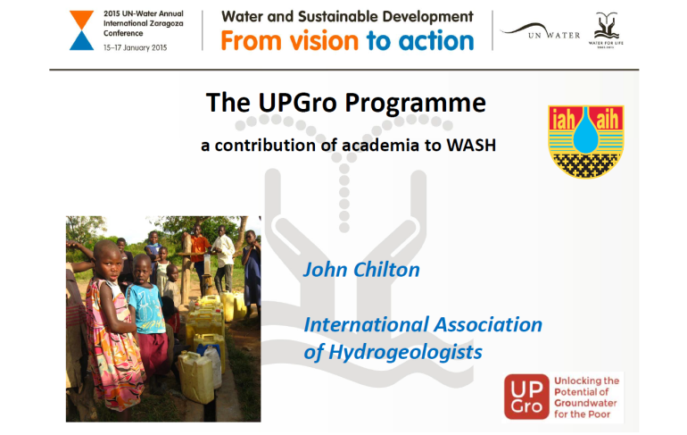 Presentation by John Chilton to UN-Water Conference, January 2015