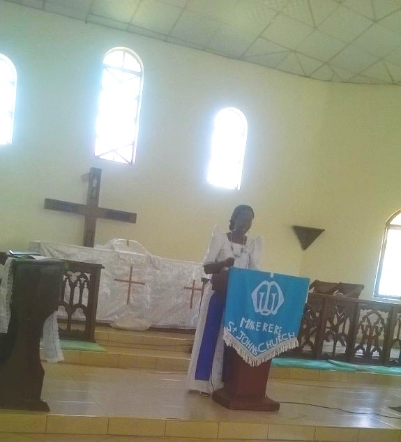 Robinah as a Guest speaker for a sermon on Mary' s day at St. John's Church, Makerere. (T-GroUP)